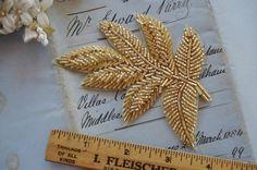 Vintage Gold Beaded Large Milinery Leaf by VintageCottageFinds