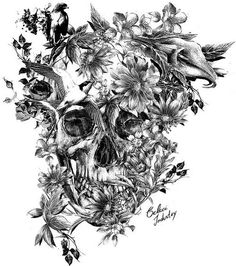 I'm Imagining This As A Tattoo… Half Black And White With Only The Flowers In Color - Click for More...