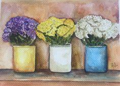Las flores del mercado Acuarela  36x27