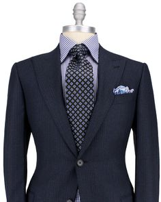 Ermenegildo Zegna Midnight with Blue Stripe Suit