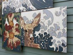 September High School Boulder, Colorado, 2015. Collaborative mural with students to commemorate the flood of 2013. Deck stain and wood burning on plywood panels (detail.)