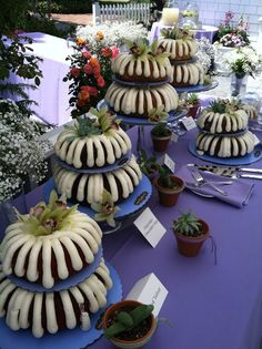 Wedding bundt cakes - much more affordable and delicious option then traditional wedding cake. Succulents on top.