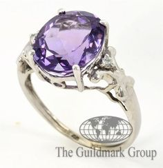 New 10K White Gold Amethyst and Diamond Ring 7.0US Retail: $1,030 - 0.02 cttw - 2.5 Grams - Free Shipping