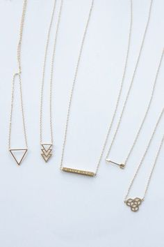 Gold geometric necklaces for layering (these are just examples)