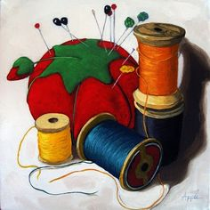 Sewing Essentials realistic still life oil painting, painting by artist Linda Apple
