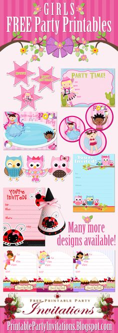 Large Selection of FREE Printable Party Invitations, Cupcake Toppers, Party Hats and More for Girls