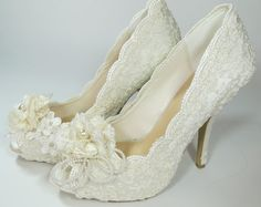 WeDDING LACe HEELS  MADERIA Collection  Ivory by MaryMarryMe, $200.00
