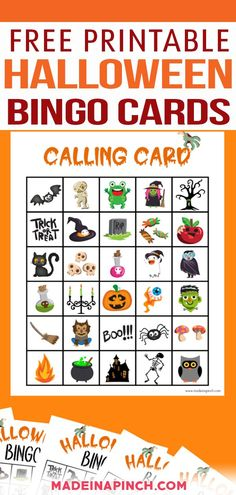 One of the best Halloween activities is Halloween Bingo! This free printable Halloween Bingo game offers 8 adorable game boards and one calling card for you to print and play right away! It's perfect to play at home, at a kids' party, or at the Halloween party at school! I have been the room parent for my kids for more years than I can count at this point. | @made_in_a_pinch #halloweenbingo #freekidsprintables #halloweenprintables #diyhalloweenparty Halloween Bingo Cards, Classroom Halloween Party, Halloween Crafts, Holiday Crafts, Halloween Ideas, Halloween Craft Activities, Fun Activities For Kids, Motor Activities, Card Tricks