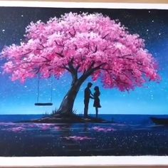Canvas Painting Tutorials, Easy Canvas Painting, Simple Acrylic Paintings, Diy Canvas Art, Landscape Paintings Simple, Painting Art, Acrylic Painting Trees, Cardboard Painting, Couple Painting