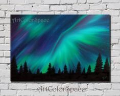 Aurora painting Northern lights painting Oil painting on canvas Aurora borealis Starry night Landscape painting Night sky Large wall art