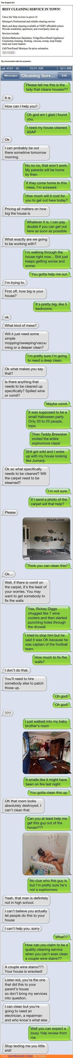 Hilarious Texts About Cleaner vs. Halloween Party