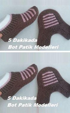 Boot Boots Modelle in 5 Minuten - german topic Baby Knitting Patterns, Knitting Blogs, Knitting Socks, Crochet Patterns, Knitted Slippers, Wool Socks, Knitted Gloves, Crochet Leg Warmers, Arm Warmers