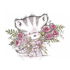 Tampon dessin Wild rose studio. Chat et bouquet de fleurs