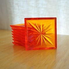 mod orange lucite coasters