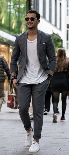sandro - with summer outfit idea with a gray suit white v-neck t f96249eda0a
