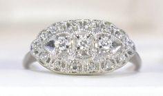 Vintage 14k white gold diamond cluster princess or by Ringtique, $395.00