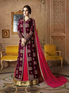 Price @5990.00 INR  Colour : Maroon & Rani    Top : Jacket In Slub Georgette Fabric With Zari            Bottom : Fuschia Pink Color Mulberry Silk Lehenga With Gotta Fabric Dupatta : Dupatta In Round Soft Net Embellished With Stone    Work : Wine Embroidered, Stone Work With Sequence