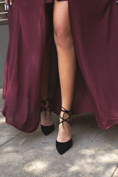 Everyone could benefit from the chic style that the Dani Black Suede Lace-Up Heels bring! Velvety vegan suede is formed to an unstoppable pointed toe upper, sturdy heel cup, and lace-up vamp with gold aglets.