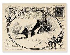 VINTAGE-Snowy-Postcard-Rubber-Stamp-Christmas-Card-Postmark-PHILADELPHIA-Church