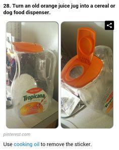 Orange juice jug to use as cereal or dog food dispenser