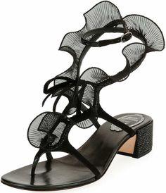 70d2bebd980 Rene Caovilla Ruffle Beaded Thong Sandals Beaded Sandals