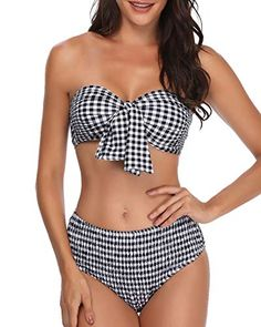 75885ebb4a5 Tempt Me Women Two Pieces Plaid Tie Knot Front Bandeau Bikini Top with High  Waist Bottoms