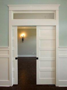 Double Pocket Door, Double Doors, Modern Interior, Interior Design, Interior Trim, Interior Paint, Transom Windows, Bedroom Doors, Trendy Home