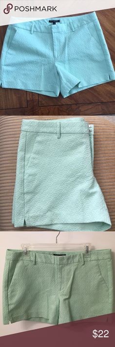 Mint colored Banana Republic shorts. New w/o tags Mint colored shorts from Banana Republic. Textured pattern. Front pockets. Pockets on back are only for design, not for use. Size 12, perfect condition. The color looks different in my pictures from different lighting but these are mint in color! New without tags. Double clasp, button and zipper. Banana Republic Shorts