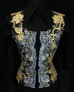 Blue, Black and Gold Horse Show Vest by Sweet Magnolia ~ Just Peachy