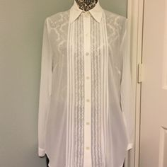 Cabi Sheer white button down blouse New with tags. Lovely white button down. A staple in any woman's closet. Beautiful detail on each side of the placket.  Fall '15 sample line. Sheer. 100% poly. Machine wash. CAbi Tops Blouses