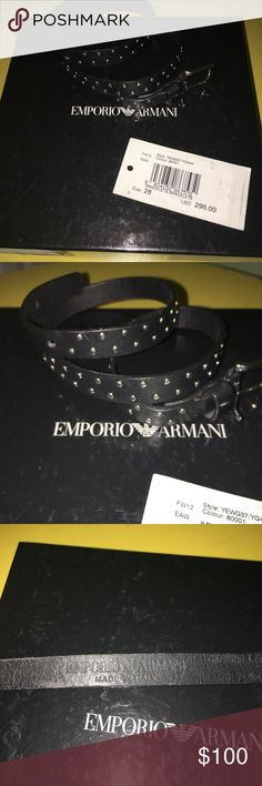 Emporio Armani men's leather bracelet . Size 28 Emporio Armani men's leather bracelets . Size 28. Funky leather bracelet , made in Italy . 100% leather . Have a metal pins as a style . Please do not hesitate to ask questions Emporio Armani Accessories Jewelry