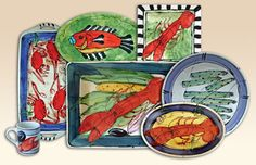 Painted Seafood Pottery--These lobster platters, hand painted one at a time by a single artist, lend personality and attitude to the table. When not in use for serving, they often reside on a counter or atop a cabinet to decorate the kitchen. #CoastalBeachDecor