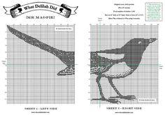 Cross Stitch Pattern: Magpie (2) Cross Stitch Hoop, Cross Stitch Letters, Cross Stitch Animals, Cross Stitch Charts, Embroidery Stitches, Embroidery Patterns, Stitch Patterns, Filet Crochet Charts, Knitting Charts