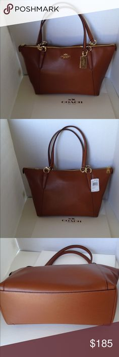 """Coach Ava Crossgrain Saddle Brown Leather Tote New with tags. A gorgeous classic! Coach Ava saddle brown crossgrain leather tote. Gold Coach logo, hangtag and hardware.  Double handles with 9"""" drop. Interior saddle brown twill lining with zippered pocket and two slip pockets. F35808 authenticity number. No Trades Coach Bags Shoulder Bags"""