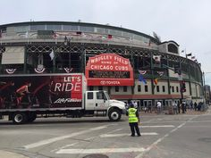 Today is a busy day for the @cubs and Wrigley Field with the home opener, banner-raising ceremony, and unveiling the stadium's new @parkatwrigley. Yet, #LifeFitness installers navigated the chaos in Wrigleyville and delivered some new units to the 2016 World Champions.