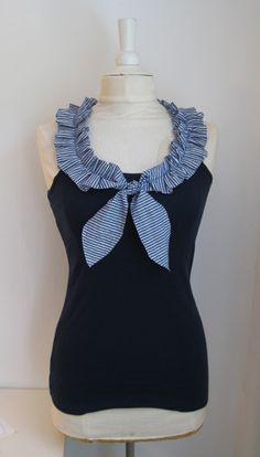 idea -- ruffle ribbon collar on tank top