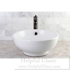 White Round Bathroom Vessel Sink - at - 0153 - Your Online Home Improvement O