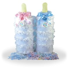 Baby Diaper Cake Gift Description Our Baby Bottle Piñata Baby Gift is a unique twist on your typical baby gift. This giant baby bottle is made from items needed for a newborn baby. The Piñata and fun Baby Shower Host, Baby Shower Gift Basket, Unique Baby Shower Gifts, Baby Shower Diapers, Baby Shower Cakes, Baby Shower Parties, Newborn Diapers, Baby Showers, Newborn Babies