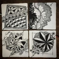 """Group of abandoned tangles. Started and tossed aside because I wasn't feeling good about the progress. Never throw away a tangle. I spent a little time on each of these tiles, and found relaxation in the process. """"There are no mistakes in Zentangle®"""""""