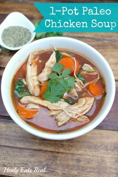 Paleo Chicken Soup Recipe- This paleo chicken soup recipe is a great healing recipe that's easy to digest and is good for the gut. I like to make a big pot of this soup to save in jars in the fridge for easy lunches or dinners. via Healy Eats Real Paleo Chicken Soup, Paleo Soup, Chicken Recipes, Vegetarian Soup, Healthy Soup, Chicken Protein, Veg Soup, Healthy Meals, Paleo Recipes