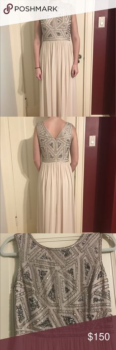 "Adrianna Papell Dress Pale pink dress, great condition, comes with the extra beads still attached, small smudge on hem (included in photos).                                                                                   Length- 60""                                                                            Shoulder to beading - 15.5""                                                 Bust- 34""                                                                                Waist- 32""      Hips…"