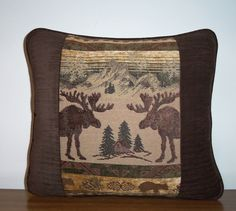 Moose Pillow Cabin Lodge Brown Tapestry Pillow. $25.00, via Etsy.