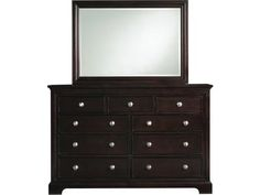This transitional triple dresser and mirror set is constructed of poplar and mango wood with basswood veneers and is finished in a dark merlot. The mirror is finely detailed with etched edges and the dresser features solid wood drawers with French and English dovetailing, wood on wood drawer guides, felt lined top drawers and nickel plated pull hardware. Other pieces sold separately. Please ask about our Furniture Protection Plan.