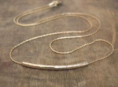Hammered Tube Necklace Delicate Gold filled by annikabella on Etsy