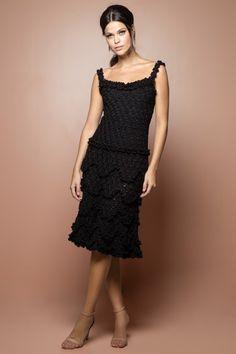 Vestido Crochet Bellini Preto - Vanessa Montoro - vanessamontoro