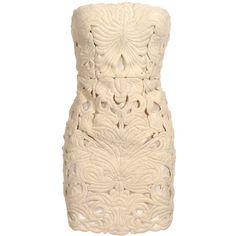 Stella McCartney Cut-out mini dress (62.444.225 VND) ❤ liked on Polyvore featuring dresses, vestidos, short dresses, haljine, stella mccartney dresses, beige cocktail dress, beige dress, beige short dress and cutout mini dress