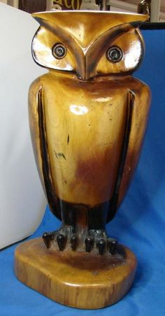 Heavy Carved Wood Owl Signed M. Graham