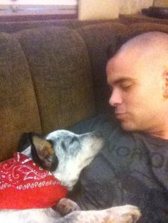 """Mark Salling from """"Glee"""" Cuddles With His Australian Cattle Dog Australian Shepherd Shedding, Australian Cattle Dog, Love Pet, Puppy Love, My Love, Mark Salling, Teenage Drama, Reasons Why I Love You, Dogs"""