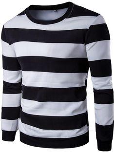 tidestore - tidestore Stripe Color Block Leisure Mens Hoodies - AdoreWe.com