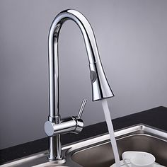 Chrome Finish Single Handle Pull Out Kitchen Tap - Single Lever Taps - Kitchen Taps http://www.plumpinguk.co.uk/chrome-finish-single-handle-pull-out-kitchen-tap.html